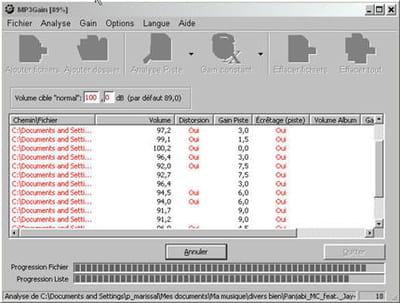 en analyse d'un dossier de mp3 : il y a plus de 10 db d'écarts entre certains