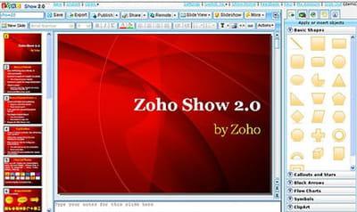 l'outil de présentation de zoho