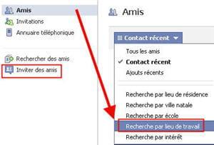 copie d'écran de la fonction rechercher un ami sous facebook.