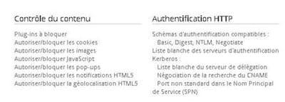 capture d'écran des fonctionnalités permises dans la console web de gestion de