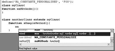 figure 28-6 : utilisation de code insight pour phpedit