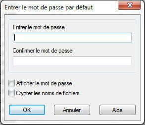 copie d'écran de l'option mot de passe sous winrar.