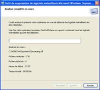 l'utilitaire de microsoft pour nettoyer windows une fois infecté par un virus