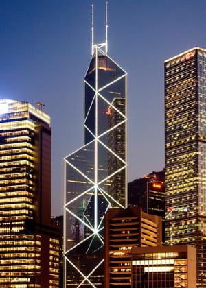a hong kong, la tour de la bank of china est l'un des plus hauts sièges sociaux