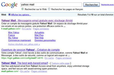 résultats de google pour la requête 'yahoo mail'