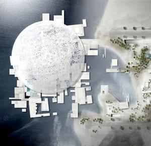 vu du ciel, le futur musée du louvre d'abou dhabi, dessiné par jean nouvel.