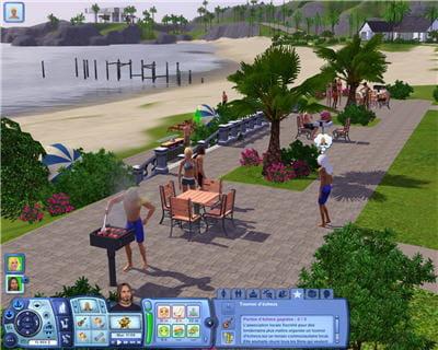 un barbecue sur la plage, par un bel après-midi, en maillot de bain.