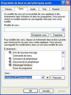 le menu de gestion dessons sous windows xp
