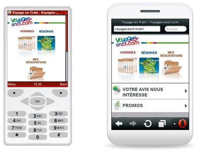 figure 9-3 - le site mobile de la sncf affiché par l'intermédiaire de deux