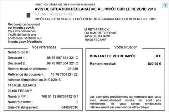 Asdir 2017: l'avis de situation déclarative à l'impôt sur le revenu