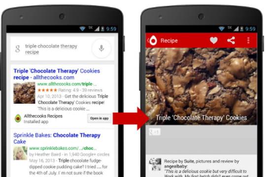 """Google commence à faire remonter du contenu """"in app"""" dans ses résultats"""