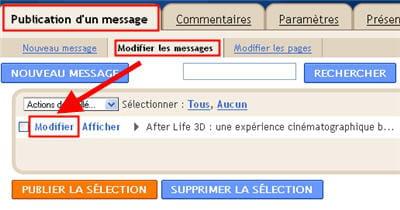 copie d'écran de l'interface de modification d'un article existant sous blogger.