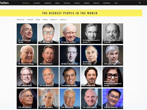 Classement Forbes: les hommes les plus riches du monde en images