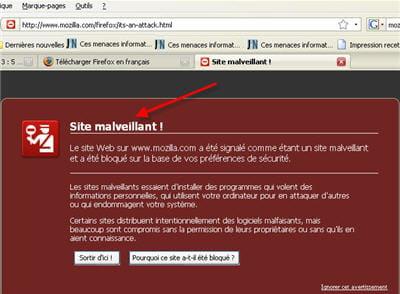 nouveauté de firefox 3 : le filtre anti-malware.
