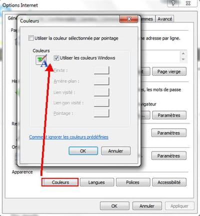l'option 'couleurs' dans 'options internet'.