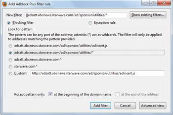 copie d'écran du module adblock plus.