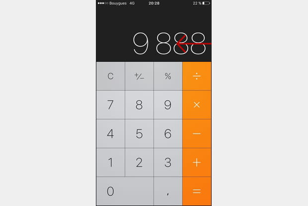 Supprimer le dernier chiffre sur la calculette