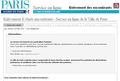 copie d'écran du service d'enlèvement d'objets encombrants sur le site de la