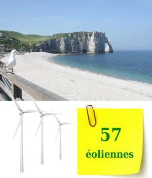 la haute-normandie possède 57éoliennes au 1er janvier 2010.