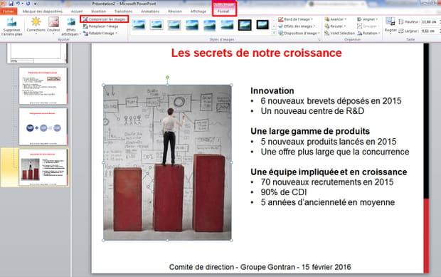 Compresser les images pour réduire la taille du PowerPoint