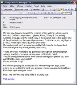 un exemple de spam