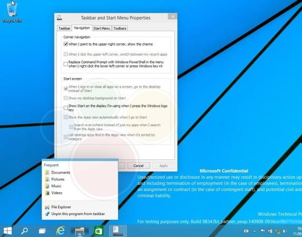 Ecran desktop par défaut