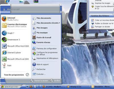 un exemple de thème de bureau style xp applicable en un clic