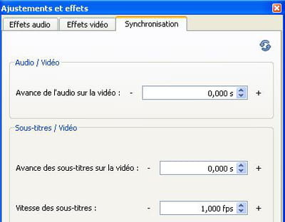 l'option synchronisation de vlc