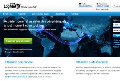 la page d'accueil du site