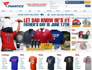 fanatics.com fait partie des e-boutiques de merchandising sportif de kynetic, la