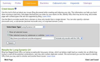 l'outil crawl issues permet de filtrer l'indicateur choisi par nom de domaine ou