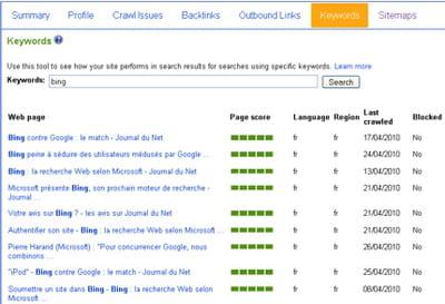 comme google, bing dispose d'une série d'outils en ligne pour webmaster : le