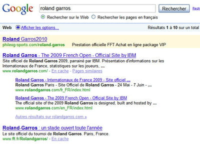 résultats de google pour la requête 'roland garros'