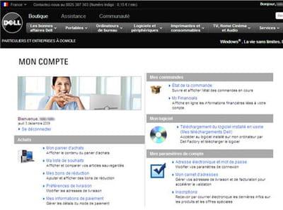 le compte client sur dell.fr
