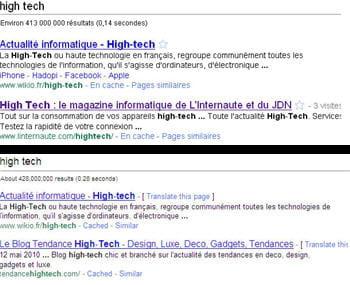 en haut, une recherche google classique : l'internaute high-tech est en 2ème