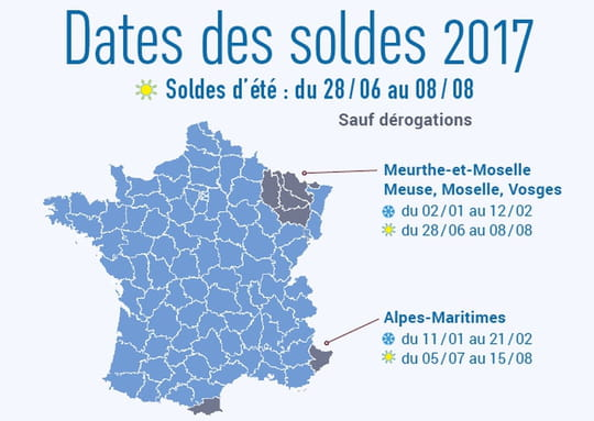 Soldes été 2017: les dates des soldes par département