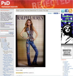 le blog 'photoshop disasters' avec la photo de la publicité de ralph lauren