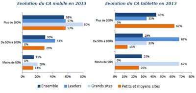 evolution des chiffres d'affaires mobile et tablettes en 2013
