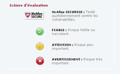 mcafee vous avertit si les sites sont sûrs ou non grâce à ces icônes