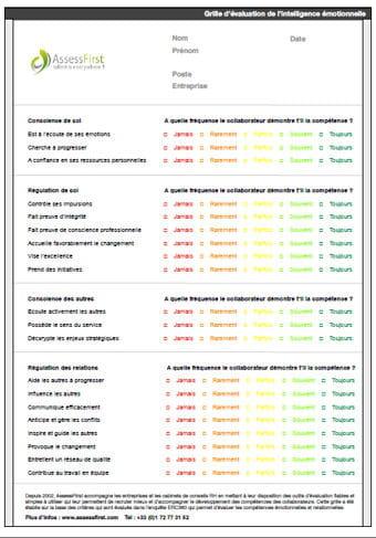 Grille valuation de l 39 intelligence motionnelle mod le - Grille des competences professionnelles ...