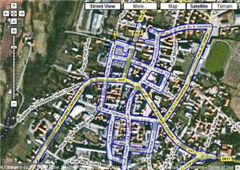 google street view propose les principales artères (cerclées de bleu) de la