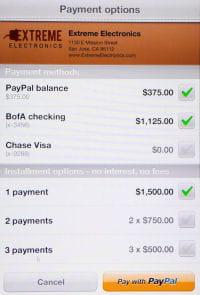 l'utilisateur répartit son achat sur les méthodes de paiement de son choix