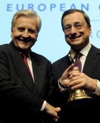 jean-claude trichet et son successeur à la tête de la bce, mario draghi.