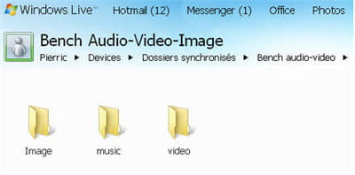 le dossier synchronisé, ouvert sur un autre pc via skydrive