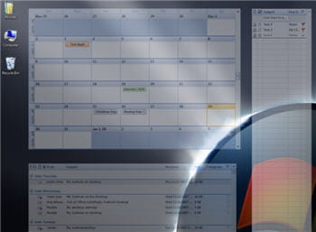 calendrier et contacts s'affichent joliment en transparence