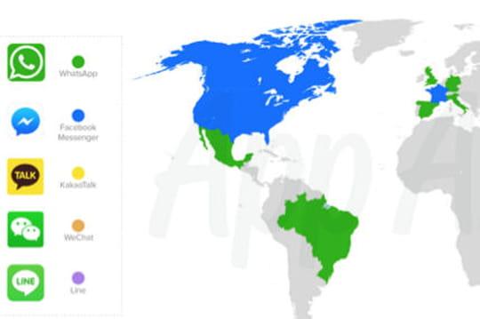 Les applis de messagerie instantanée les plus populaires selon les pays