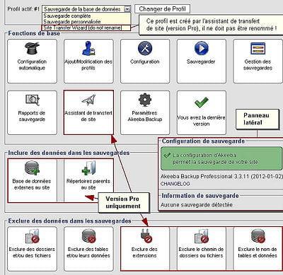 akeeba backup existe en version gratuite ou payante('version pro'), avec plus de