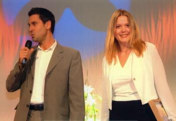 marc simoncini et yseulys costes lors de la soirée des trophées de la vad en