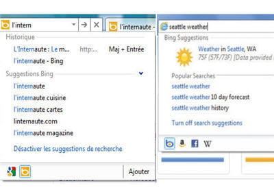 2 exemples de ce que propose la barre de recherche / navigation