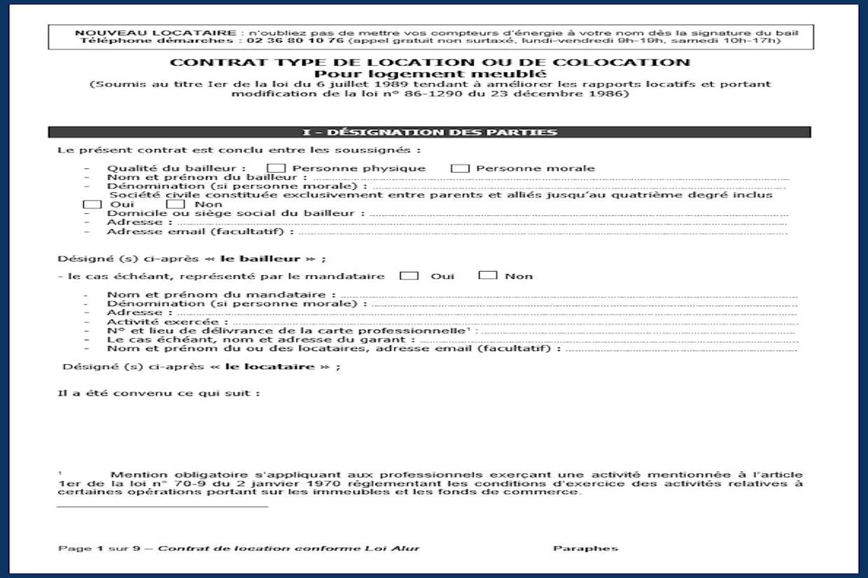 Contrat De Location Modele Pdf Gratuit Et Conforme Alur A Telecharger